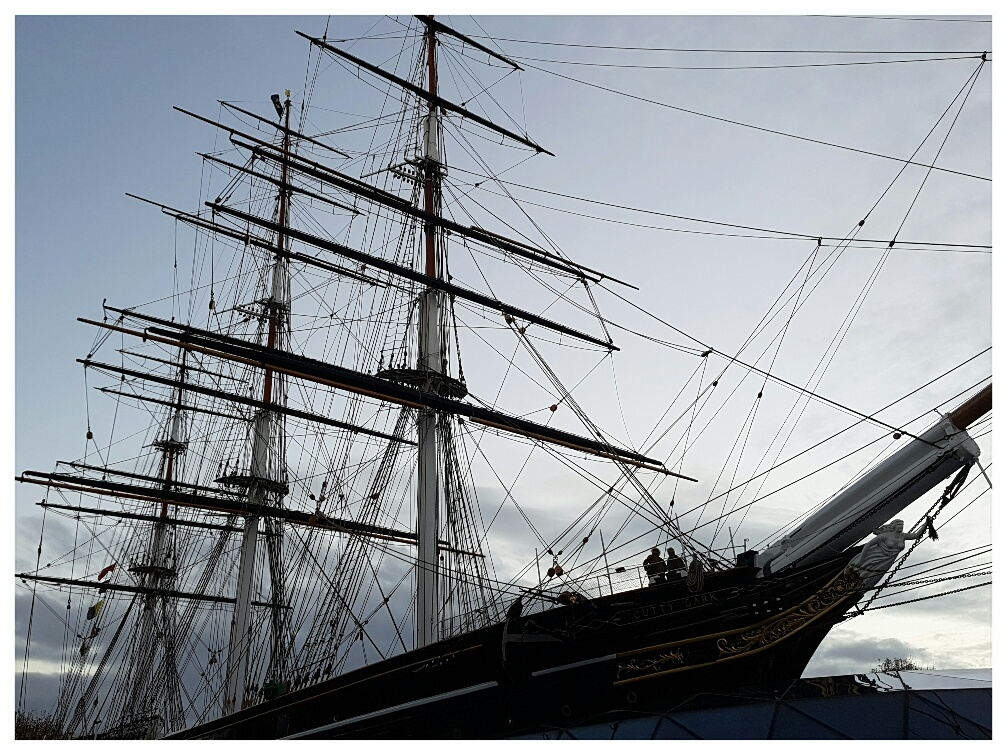 The Cutty Sark in Greenwich at dusk