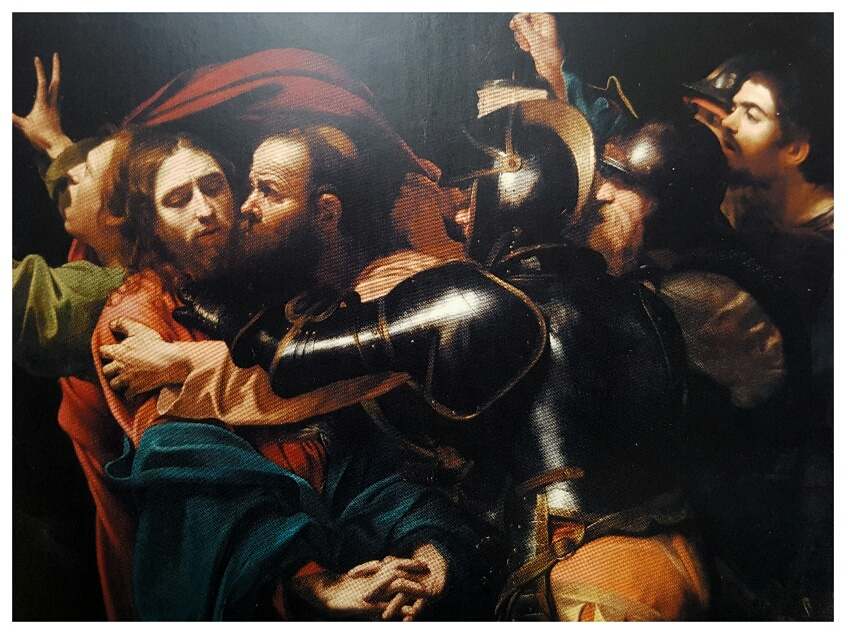 The Taking of Christ, a work of staggering beauty, absolutely impossible to capture in a photo (NB: Caravaggio painted himself into the artwork, carrying the lamp)
